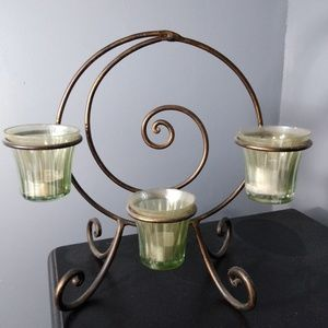 Bronze metal candle stand